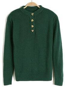 Green Long Sleeve Buttons Embellished Sweater