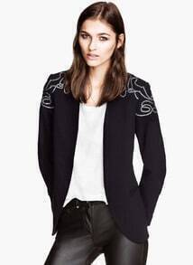Black Long Sleeve Embroidered Slim Blazer