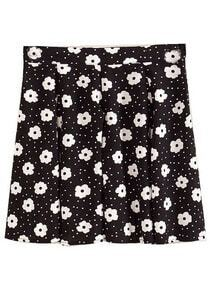 Black Fashion Floral Polka Dot Skirt
