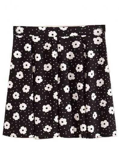 Black Fashion Floral Polka Dot Skirt
