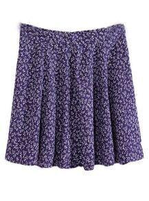 Purple Fashion Floral Pleated Skirt