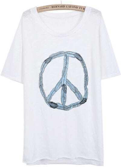 White Short Sleeve Antiwar Sign Print T-Shirt