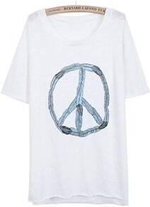 White Short Sleeve Antiwar Sign Print T-Shirt