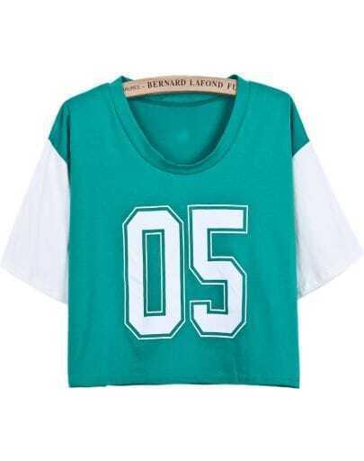 Green Contrast Short Sleeve 05 Print Crop T-Shirt