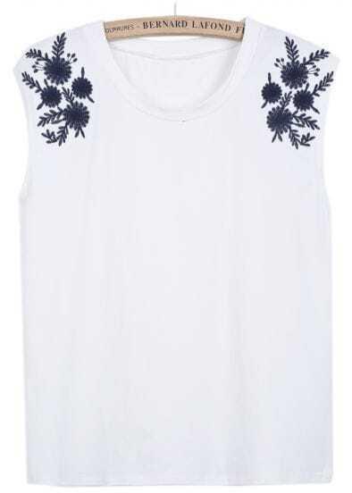 White Sleeveless Antiwar Embroidered Vest