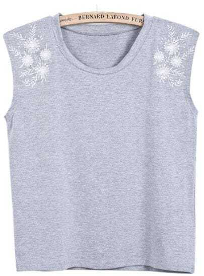 Grey Sleeveless Antiwar Embroidered Vest