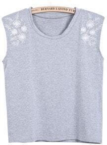 Grey Sleeveless Antiwar Embroidered Vest