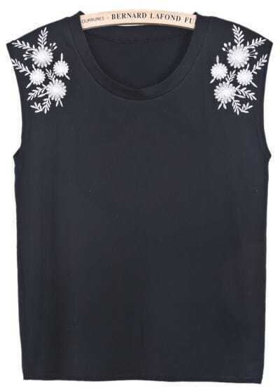Black Sleeveless Antiwar Embroidered Vest