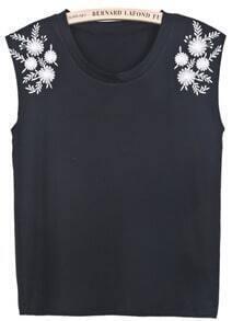 Black Sleeveless Antiwar Embroidered Vest