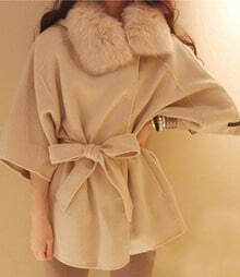 Beige Long Sleeve Fur Collar Hooded Cap Wool Coat