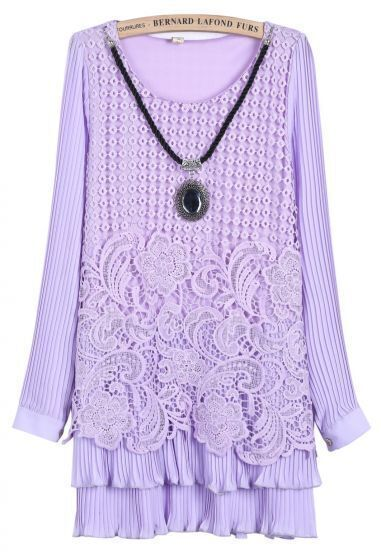 Purple Long Sleeve Lace Pleated Straight Dress