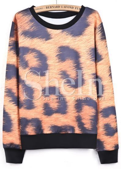 Yellow Long Sleeve Leopard Loose Sweatshirt