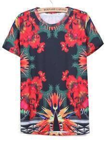 Red Short Sleeve Floral Loose T-Shirt