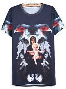 Black Short Sleeve Eagle Angel Print T-Shirt