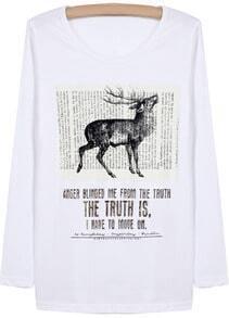 White Long Sleeve Deer Letters Print T-Shirt