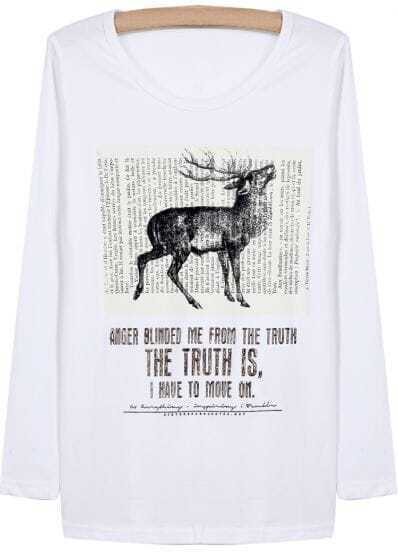 White Long Sleeve Deer Letters Print T-Shirt