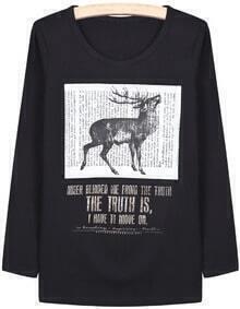 Black Long Sleeve Deer Letters Print T-Shirt