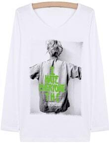 White Long Sleeve Letters Portrait Print Loose T-Shirt