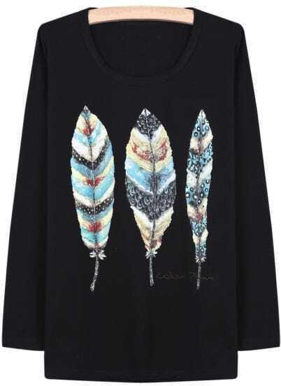 Black Long Sleeve Vintage Leaves Print T-Shirt
