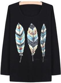 Black Long Sleeve Vintage Leaves Print T-Shirt