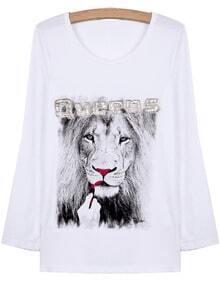 White Long Sleeve Lion Print T-Shirt