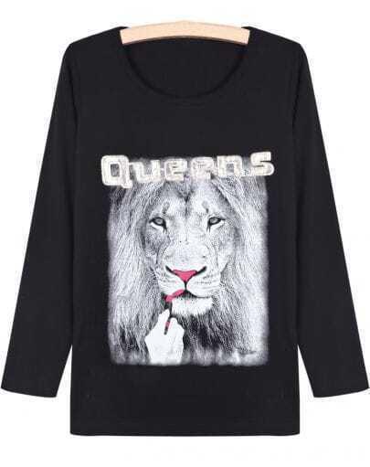 Black Long Sleeve Lion Print T-Shirt