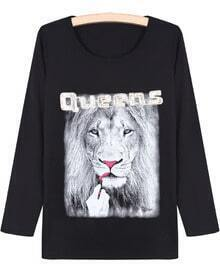 Black Long Sleeve Lion Print T-Shirt