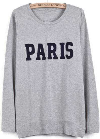 Grey Long Sleeve PARIS Pattern T-Shirt