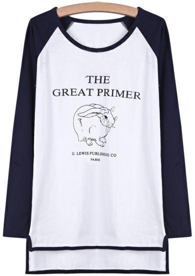 Blue Long Sleeve Rabbit Print Dipped Hem T-Shirt