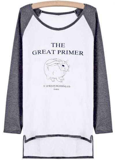 Grey Long Sleeve Rabbit Print Dipped Hem T-Shirt