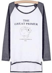 Grey Long Sleeve Rabbit Print Dipped Hem T-Shirt