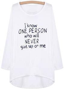White Long Sleeve Letters Print Dipped Hem T-Shirt