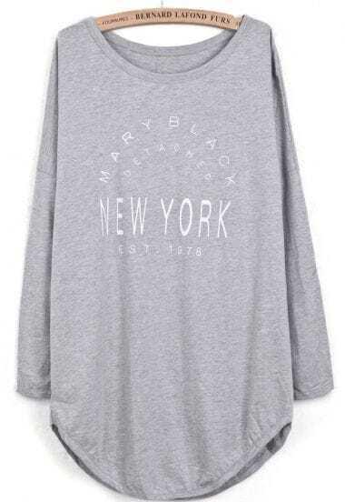 Grey Long Sleeve Letters Print Asymmetrical T-Shirt