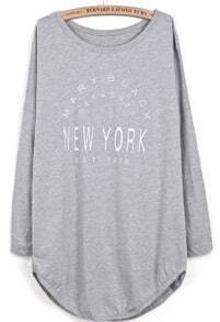 Grey Long Sleeve Letters Print Asymmetrical T-Shirt