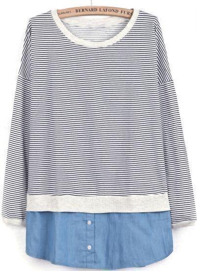 Navy Long Sleeve Striped Contrast Denim Sweatshirt