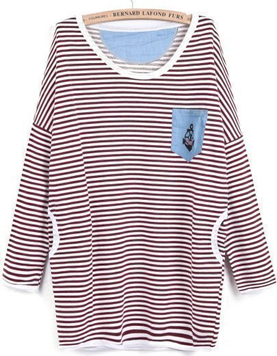 Red Long Sleeve Striped Pockets Loose Sweatshirt