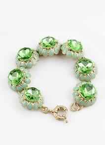 Green Gemstone Glaze Flower Bracelet