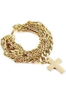 Gold Multilayer Chain Cross Bracelet