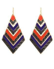 Blue Orange Stripe Vintage Gold Geometric Dangle Earrings