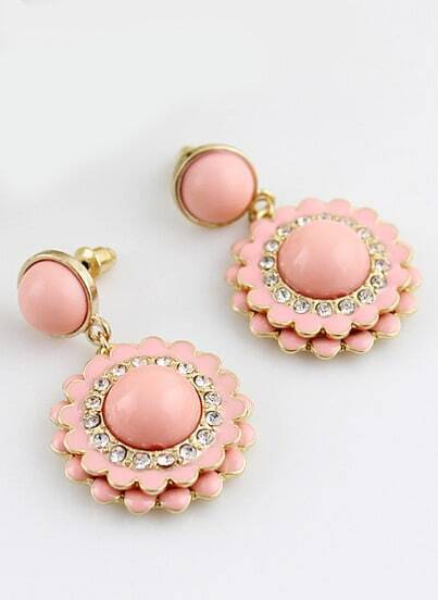 Pink Gemstone Gold Diamond Flower Earrings
