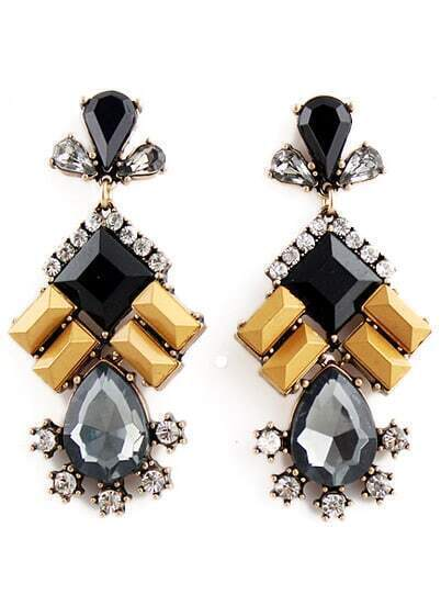 Black Yellow Gemstone Gold Diamond Earrings