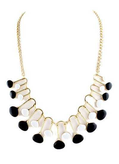 Black White Glaze Gold Chain Necklace