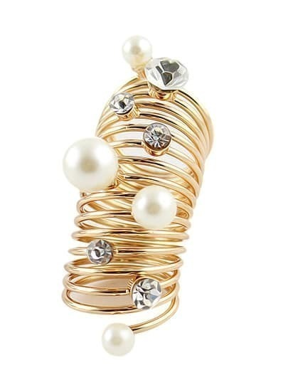 Gold Pearls Diamond Spiral Ring