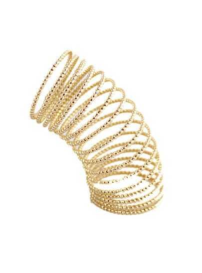 Gold Bead Spiral Multilayer Ring