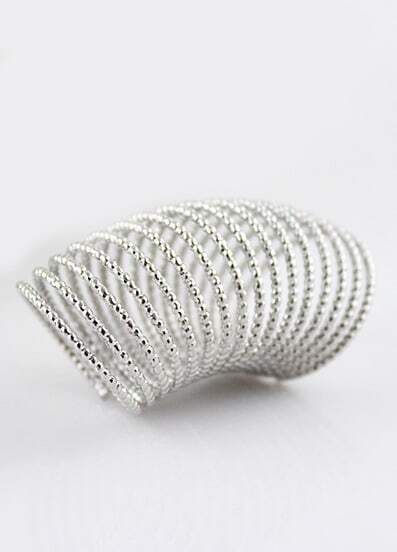 Silver Bead Spiral Multilayer Ring