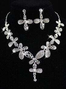 Silver Hollow Flowers Necklace With Earrings