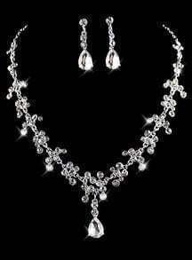 Silver Diamond Chain Necklace With Earrings