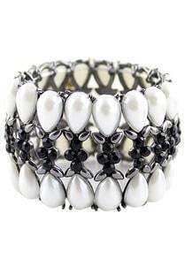 Black Gemstone Silver Hollow Bracelet