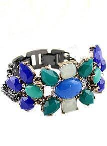 Multi Gemstone Retro Silver Chain Bracelet