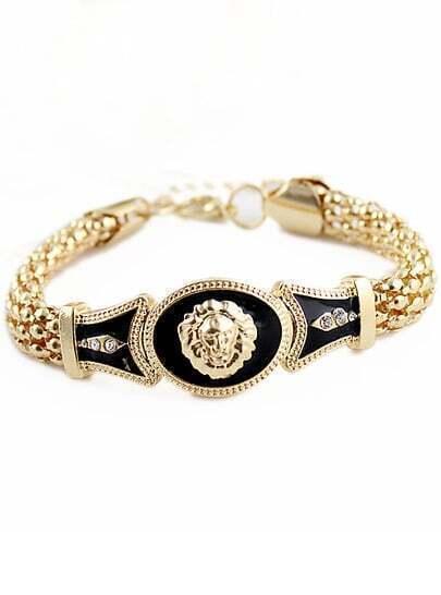Gold Lion Pattern Bracelet